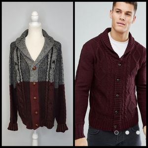 ASOS BRAVE SOUL shawl neck cardigan cable knit